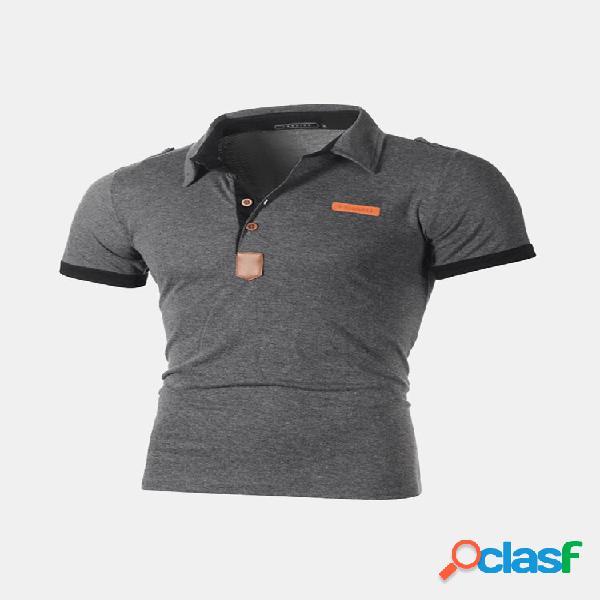 Homens business golf camisa patchwork manga curta slim primavera verão casual algodão tops