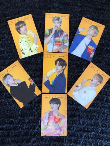 Foto Cards BTS em Logo com McDonald?s Kit com os 7 cards