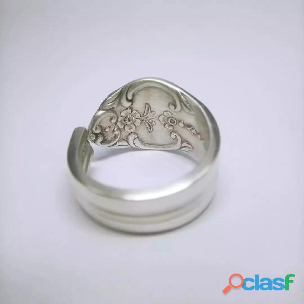 Anel de colher prata aço alpaca 1