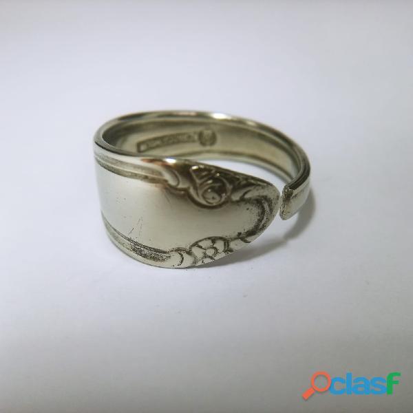 Anel de colher prata aço alpaca 2