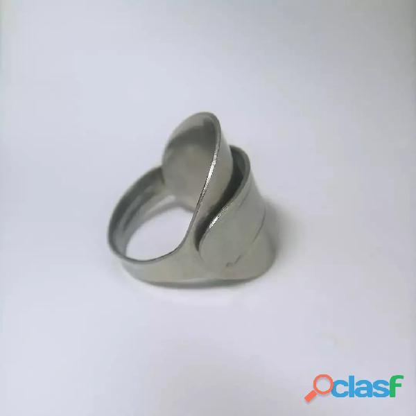 Anel de colher prata aço alpaca 3
