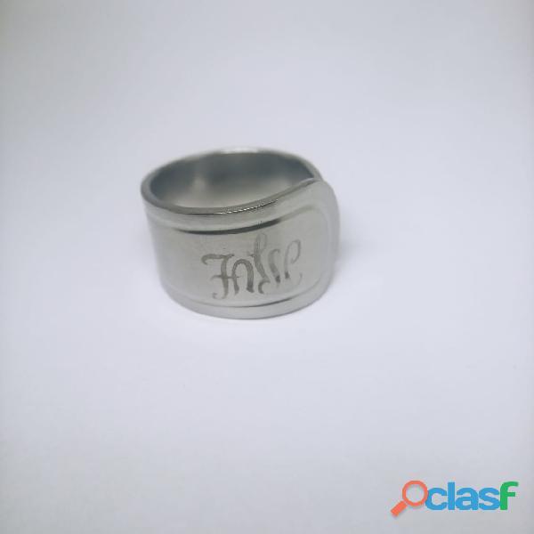 Anel de colher prata aço alpaca 4