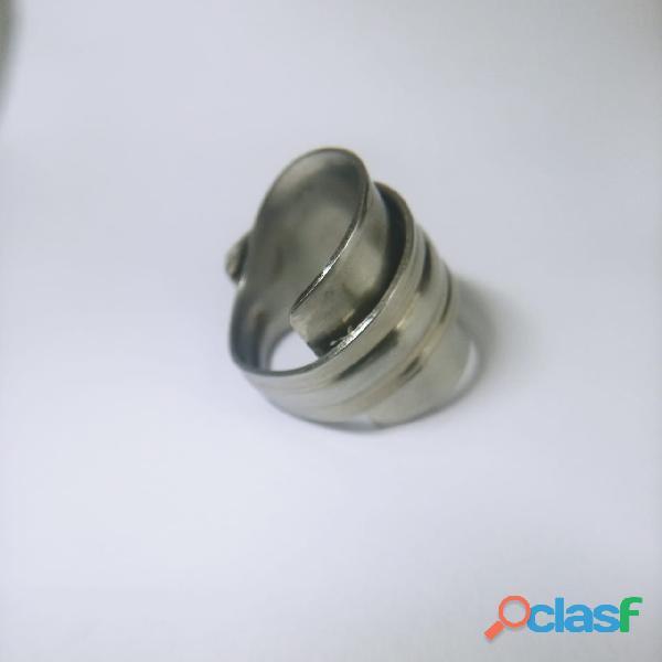 Anel de colher prata aço alpaca 6