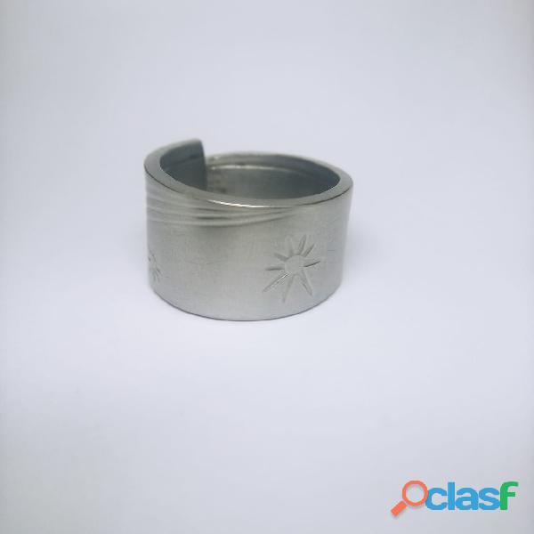 Anel de colher prata aço alpaca 8