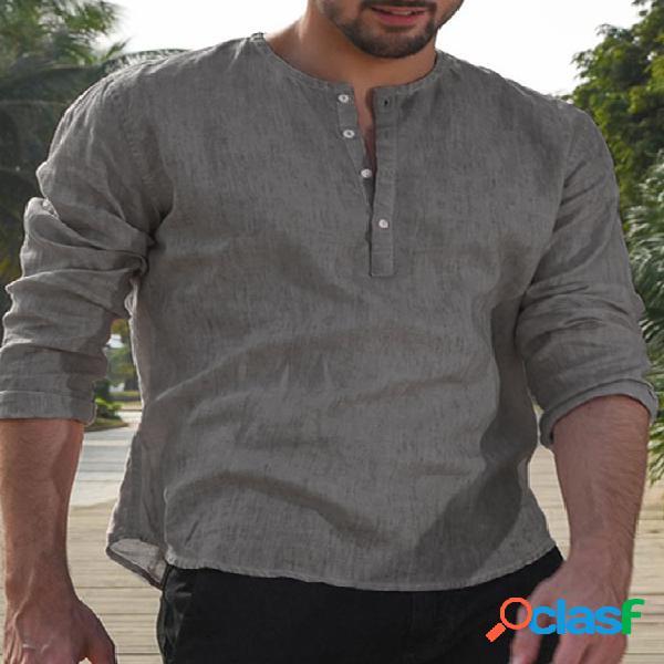 Incerun homem casual manga longa com botão retro plain camisa