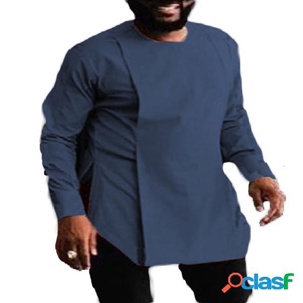 Masculino casual manga longa lisa assimétrica fenda bainha personalidade camisa