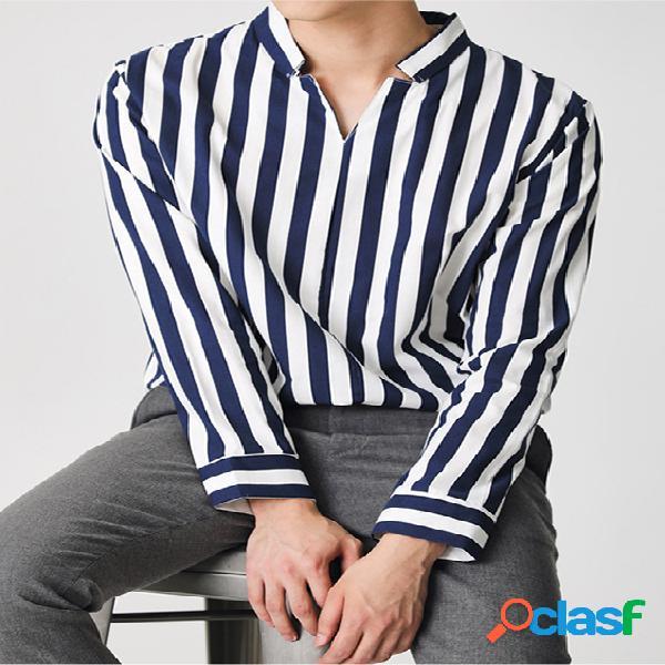 Masculino casual manga longa colarinho decote em v listrado top camisa