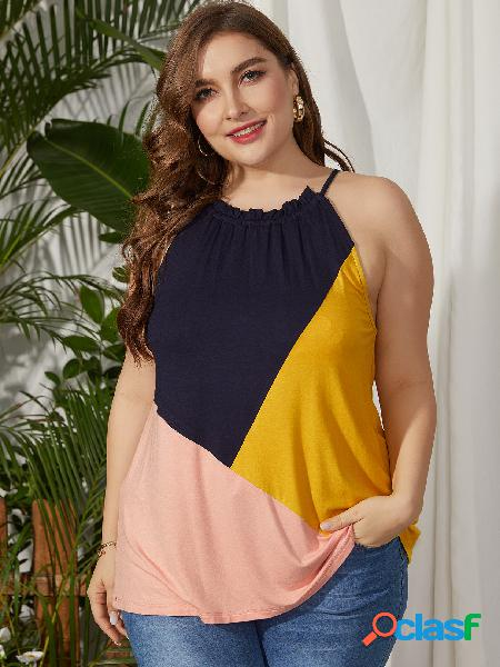 Yoins plus tamanho multicolor auto-amarração design halter cami