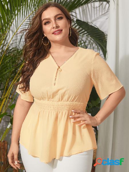 Yoins plus tamanho decote em v liso zip design blusa shirring mangas curtas
