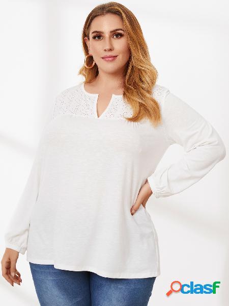 Yoins plus tamanho oco com decote em v design camiseta de mangas compridas