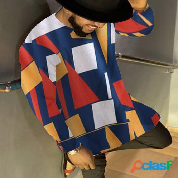 Camiseta masculina casual manga comprida colorida com estampa geométrica multicolorida