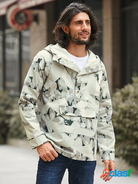 Moda masculina cinza camuflagem estampa geométrica botão frontal capuz