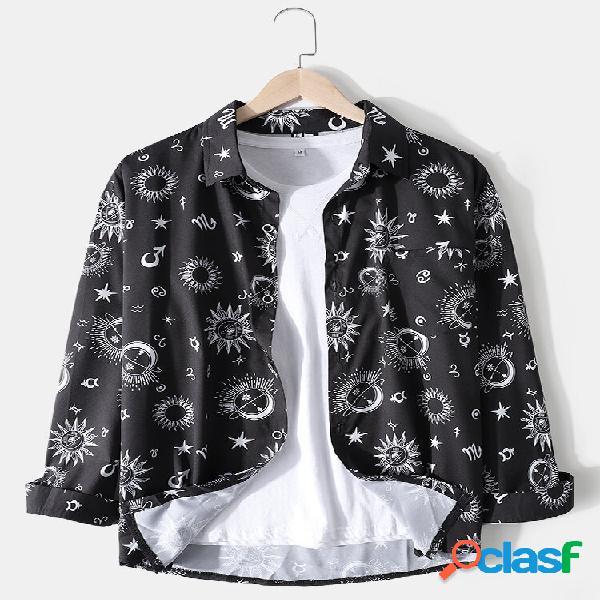 Camisas masculinas allover galaxy print lapela casual manga longa com bolso