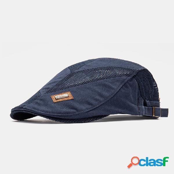 Collrown men malha respirável casual outdoor guarda-sol frente chapéu flat chapéu boina