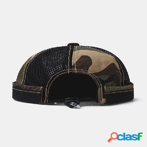 Collrown men & women camouflage padrão malha respirável casual sem aba gorro landlord chapéu caveira chapéu