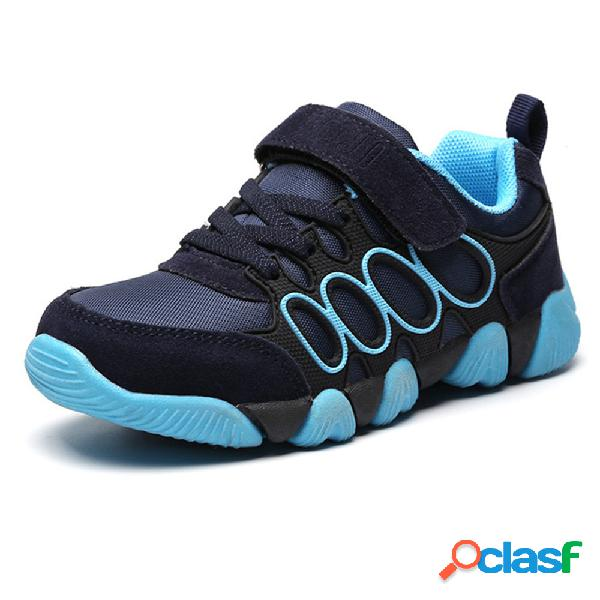 Crianças unisex malha respirável gancho loop comfy sport running trainers