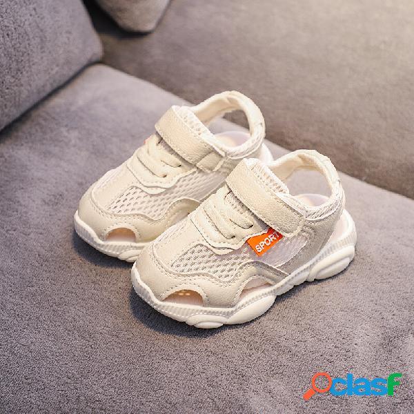 Meninos emendando soft sola de malha respirável fechado sandálias esportivas