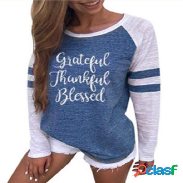 Camiseta de manga raglan redonda com listra azul com gola redonda