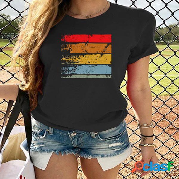 Camiseta de mangas curtas com estampa casual de gola redonda