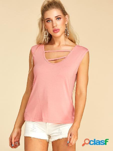 Yoins rosa camiseta de gola redonda sem mangas