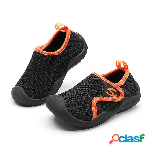 Hobibear unissexo infantil calçados infantis tecido de malha respirável toe anti-colisão soft sola tênis