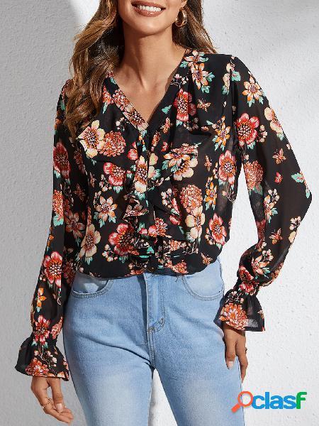 Yoins blusa preta aleatória com estampa floral com decote em v bell mangas sino