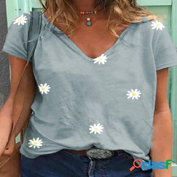 Camiseta de mangas curtas com estampa floral casual