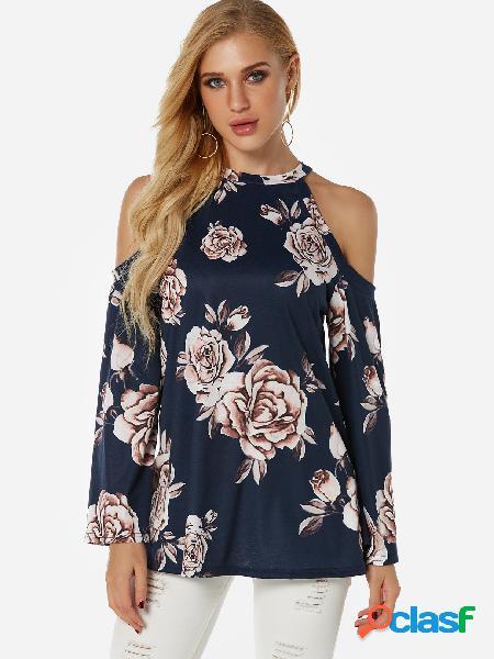 Blusa de manga comprida de ombro frio marinho aleatório com estampa floral
