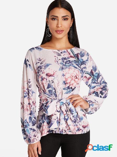 Blusas de mangas compridas com estampa floral aleatória design