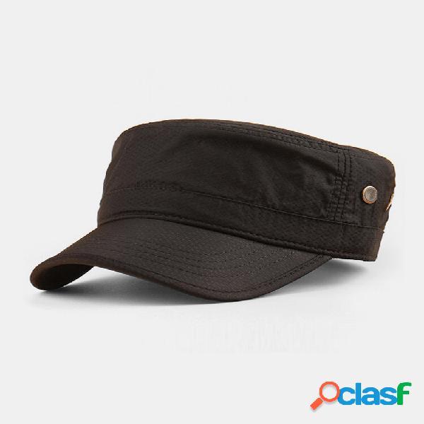 Protetor solar masculino de cor sólida de secagem rápida respirável militar chapéu