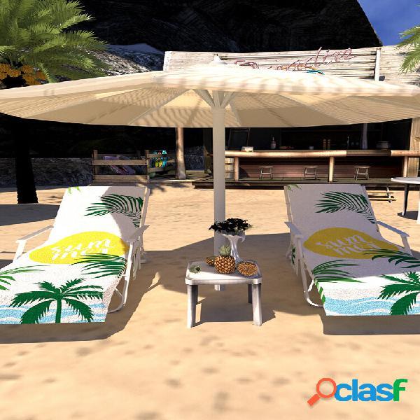 Secagem rápida praia toalha capa de cadeira de microfibra chaise lounge toalha capa com bolsos laterais para piscina esp