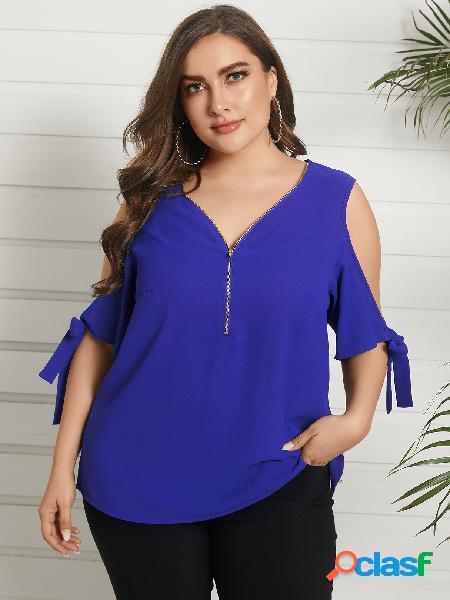 Yoins plus tamanho cold shoulder self-tie design blusa frontal com zíper