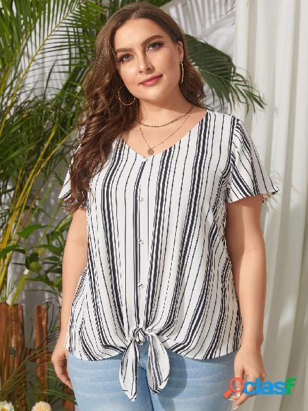 Yoins plus tamanho com decote em v listrado tie-up design blusa de mangas curtas