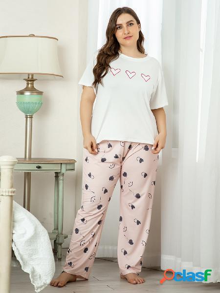 Yoins plus tamanho decote mangas curtas estampado pijamas