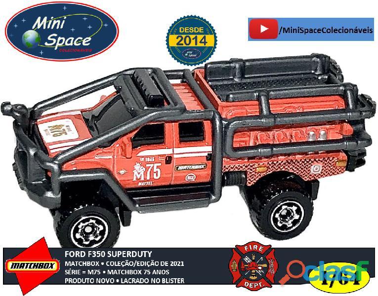 Matchbox ford f 350 super duty bombeiro cor vermelho 1/64