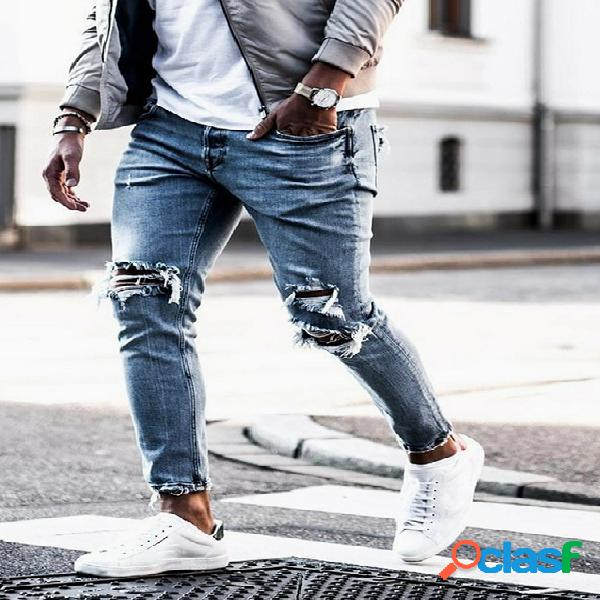 Moda masculina azul brilhante afilado jeans