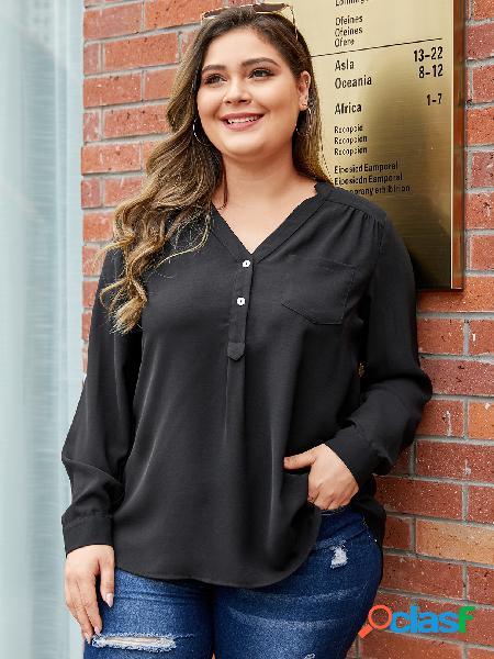Yoins plus tamanho preto botão design blusa com decote em v
