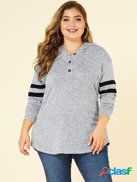Yoins plus tamanho cinza botão design hoodie