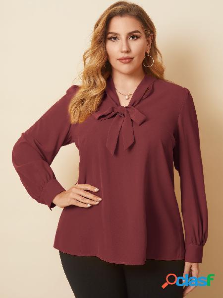 Yoins plus tamanho decote em v tie-up design blusa de mangas compridas