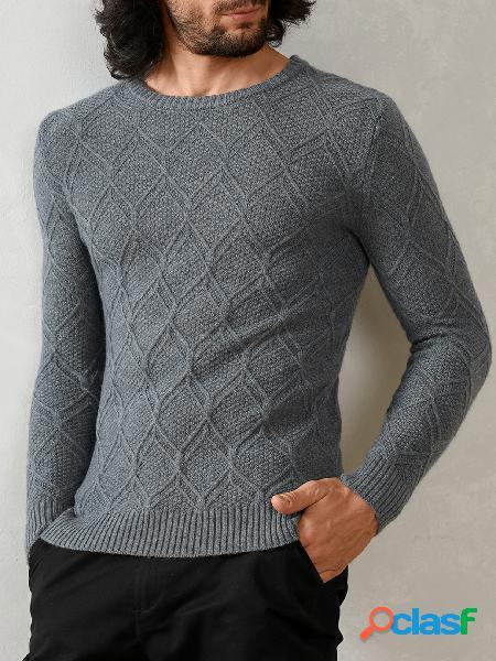 Suéter magro casual masculino em malha redonda com decote redondo