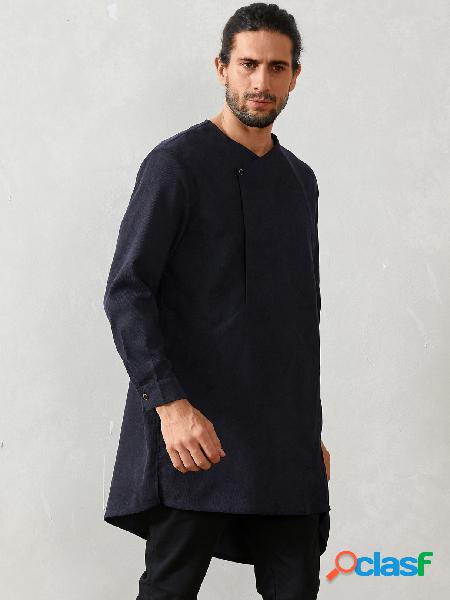 Masculino casual índia simples midi botão assimétrico frente camisa