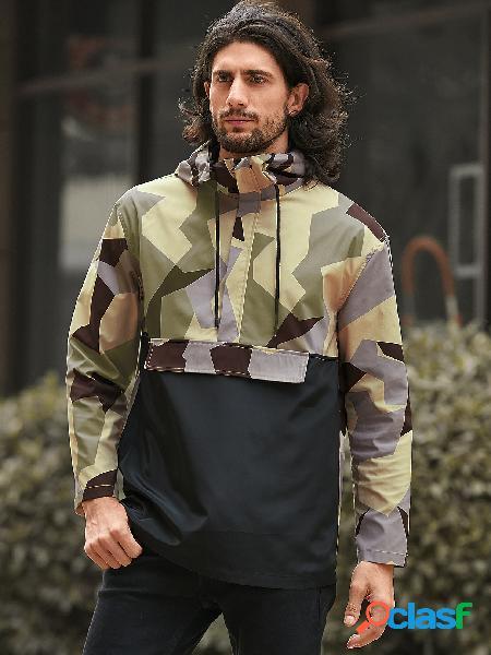 Moda masculina camuflagem caqui e estampa geométrica com capuz frontal com zíper