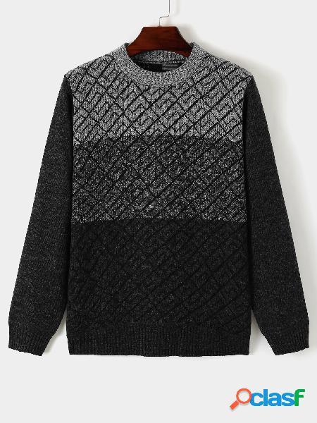 Suéter masculino casual confortável cor bloco redondo gola