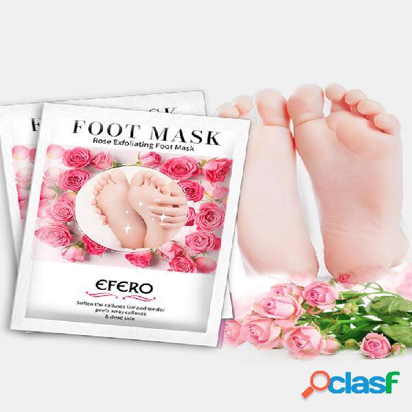 Pé esfoliante rosa máscara peeling hidratante pele morta calos meias pedicure