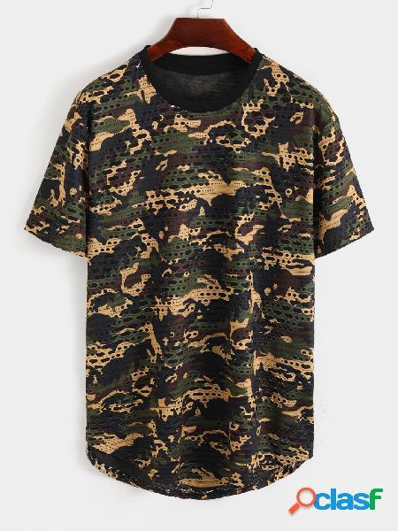 Camiseta masculina casual de algodão soft toda estampada