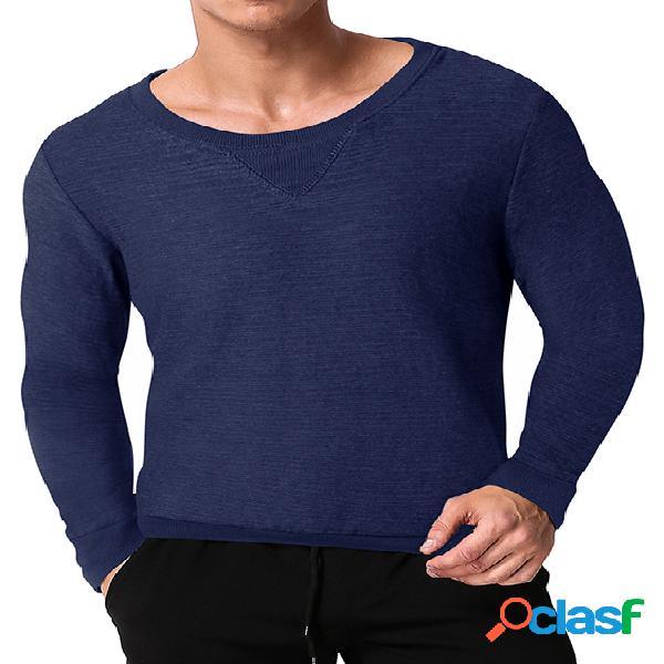 Modchok t-shirt masculina outono casual em torno do pescoço pulôver com capuz