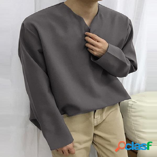 Incerun masculino algodão confortável soft manga longa casual solto com decote em v top