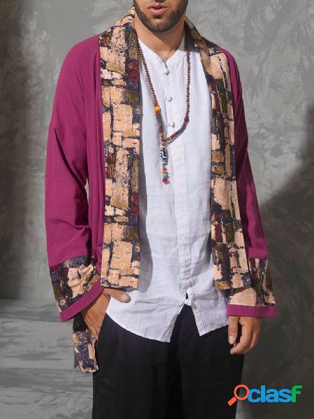 Casaco masculino outono casual de algodão retrô com estampa tribal e patchwork cardigã