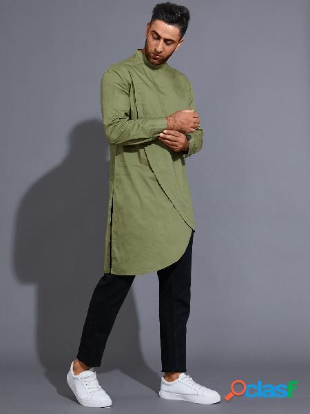 Camiseta masculina casual colarinho liso assimétrico com bainha midi