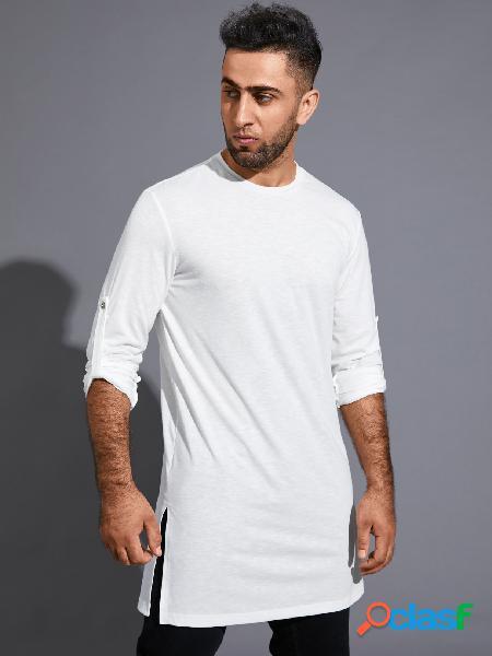 Camiseta masculina casual outono cor sólida confortável de manga comprida